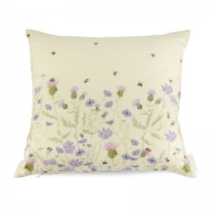 Bee and flower cotton cushion