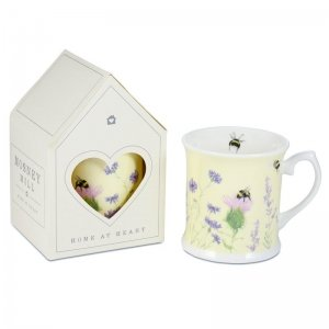 Bee and Flower Yellow China Mug