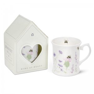 Bee and Flower White China Mug