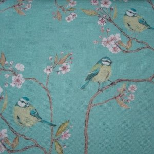 Blue Tit on Blossom Azure Sky Fabric