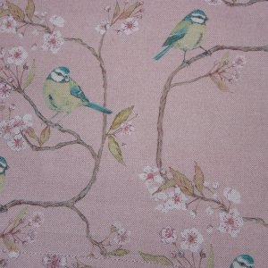 Blue Tit on Blossom Blush Fabric