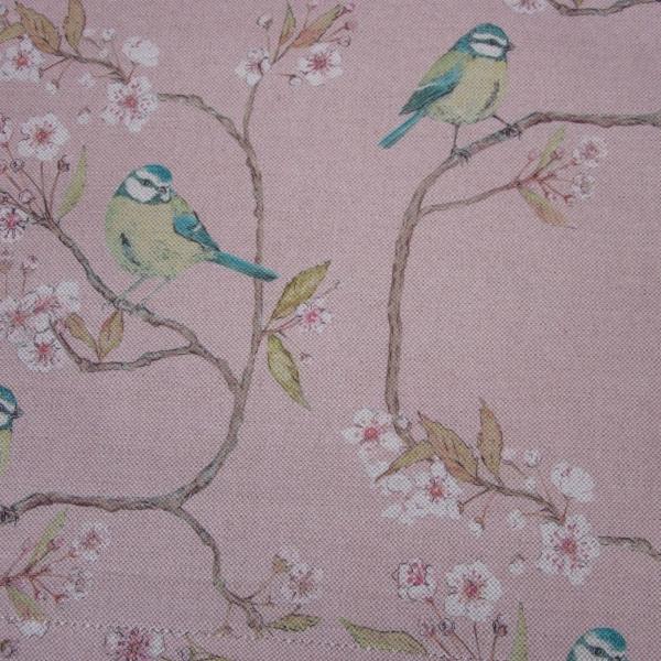 Blue Tit on Blossom Blush Fabric
