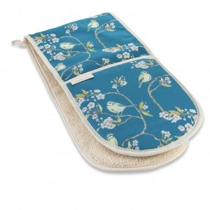 Blue Tit on Blossom Double Oven Gloves Ditsy Print