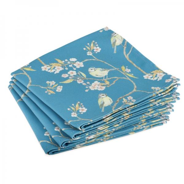 Denham Blue, Blue Tit and Blossom Napkins