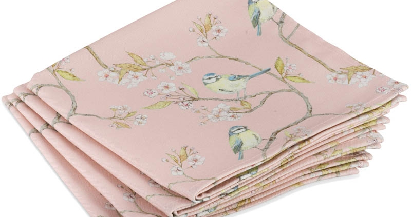 Pink Blue Tit and Blossom Napkins