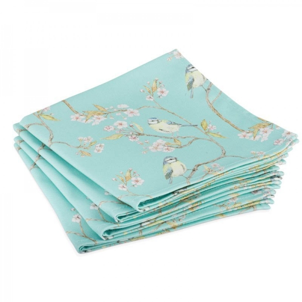 Turquoise Blue Tit and Blossom Napkins