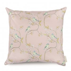 Blue tit on blossom pink cotton cushion