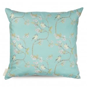Turquoise Blue Tit o Blossom Cotton Cushion