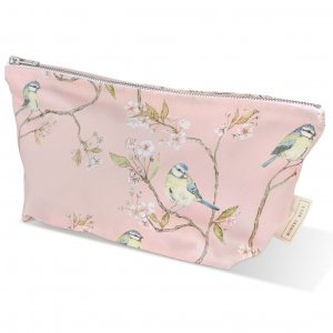Pink blue tit on blossom wash bag