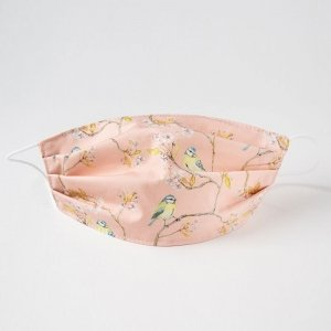 Pink cotton facemask with blue tit on blossom print